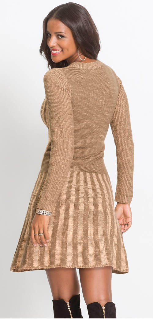 Hnědé zimní pletené šaty