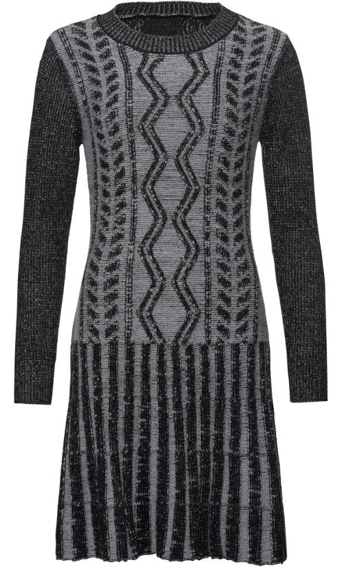 Hřejivé šedé dámské pletené šaty