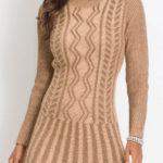 Krátké pletené svetrové šaty s dlouhými rukávy