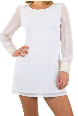 Kraťoučké bílé šaty s dlouhými poloprůhlednými rukávy