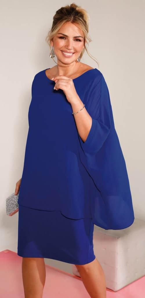 Modré vrstvené plesové šaty pro plnoštíhlé