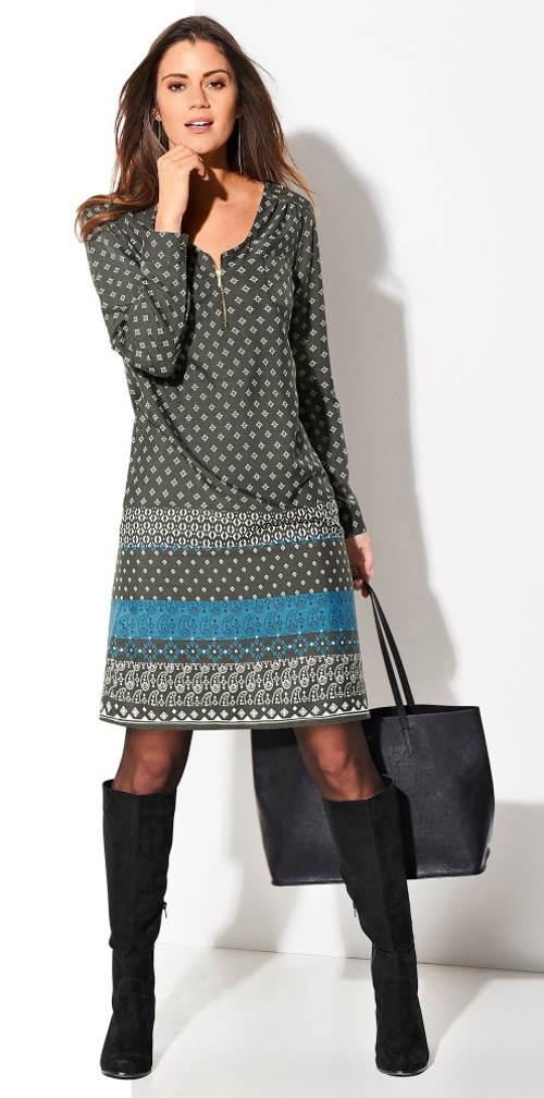 Podzimní dámské šaty s dlouhými rukávy