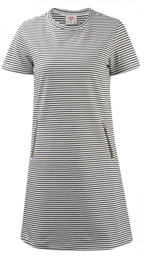 Pruhované dámské šaty s kapsami na zip