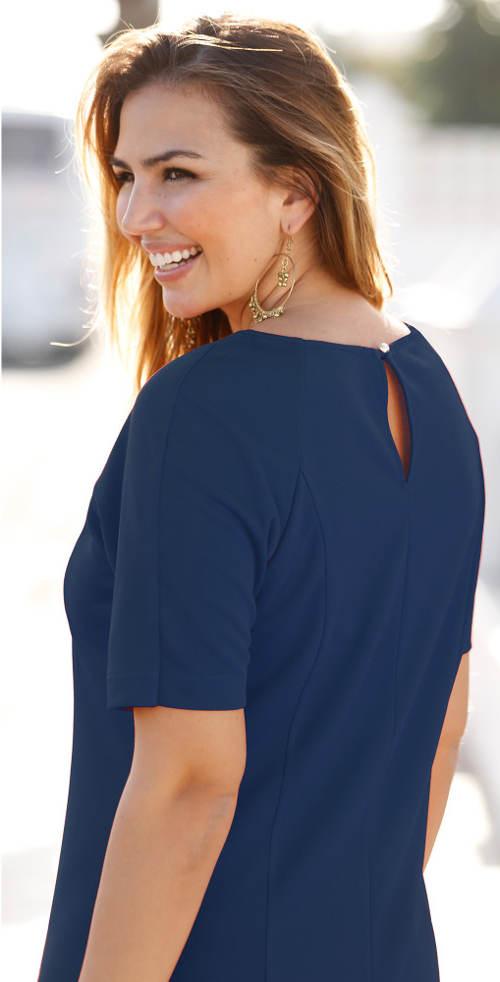 Tmavě modré dámské šaty s krátkým rukávem