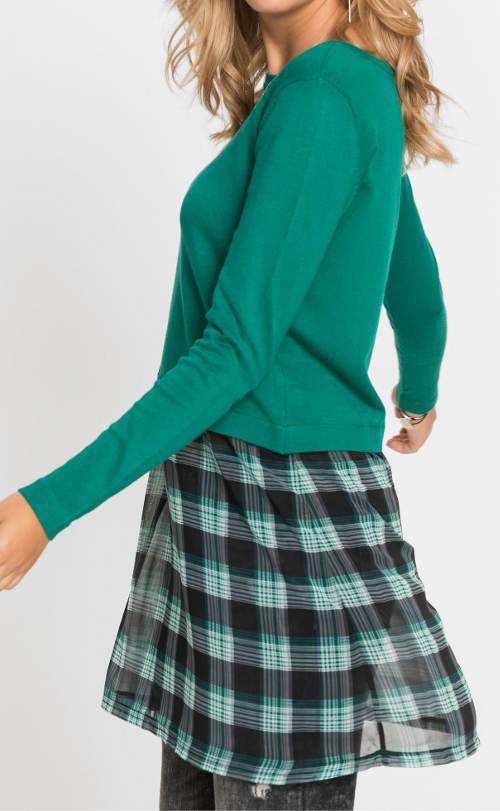 Zelené dámské šaty s karovanou sukní