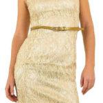 Zlaté krajkové šaty bez rukávů