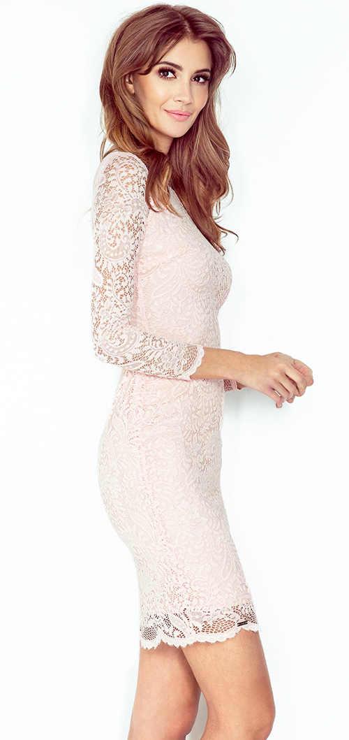 Celokrajkové šaty s poloprůhlednými rukávy