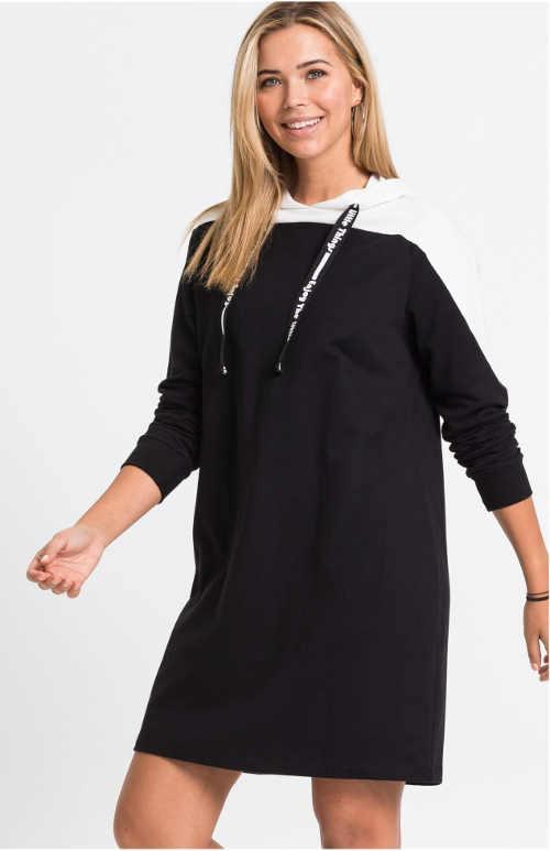 Černobílé mikinové šaty