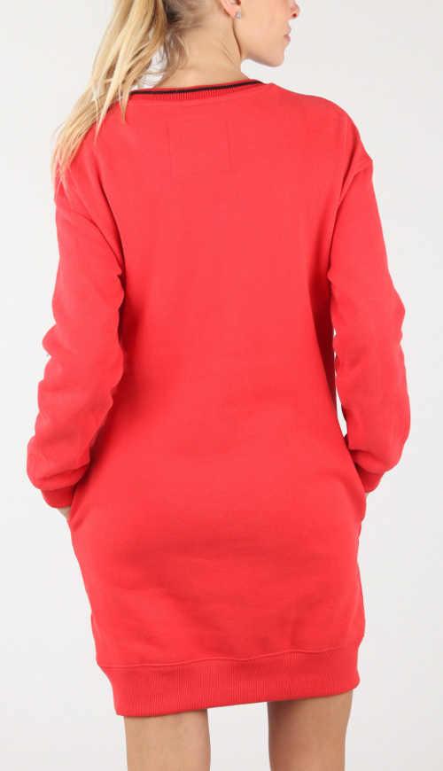Červené mikinové šaty s kapsami