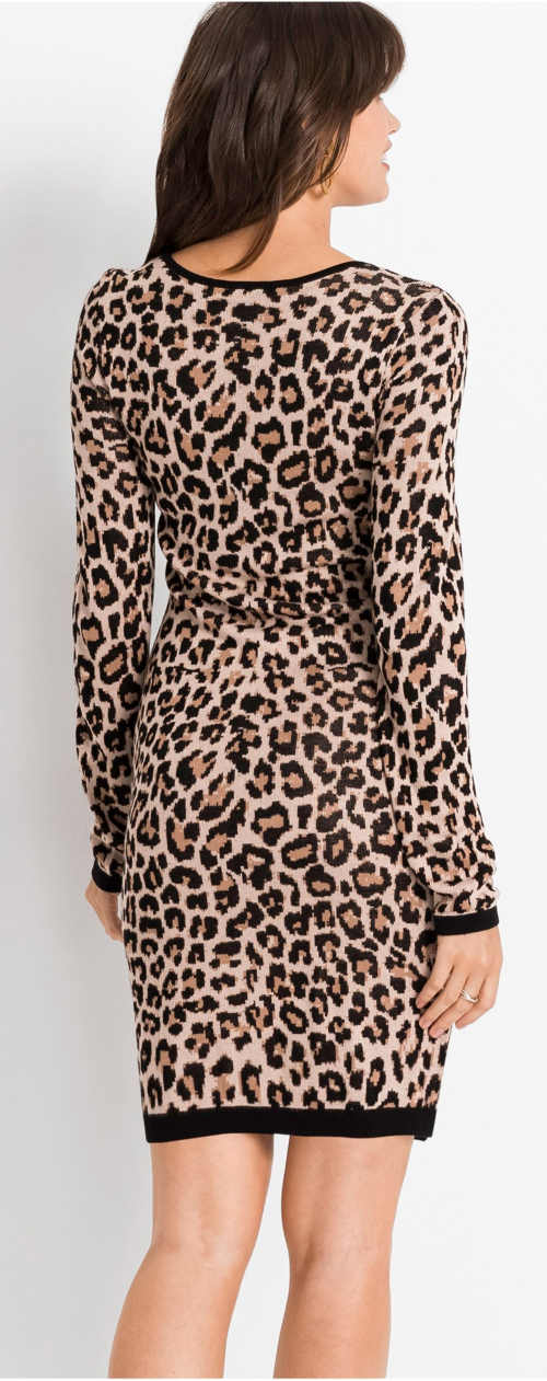 Hnědé leopardí šaty  s dlouhými rukávy