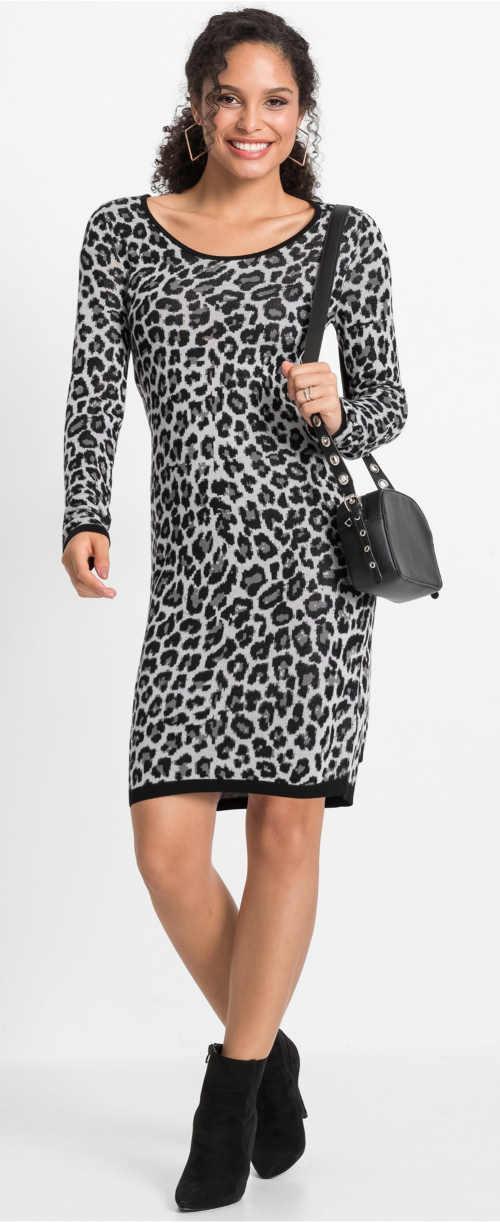 Podzimní dámské šaty s leopardím potiskem