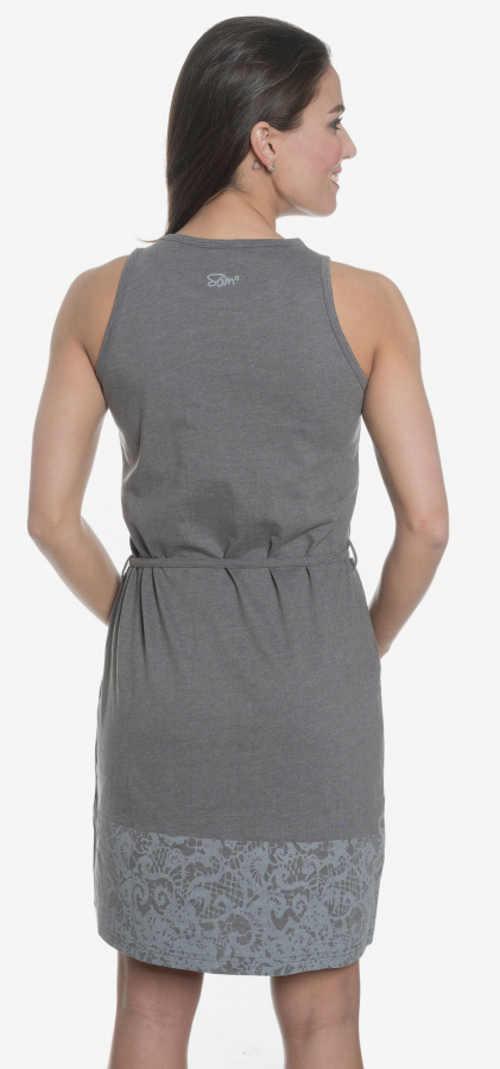 Šedé letní šaty se stahovací šňůrkou v pase
