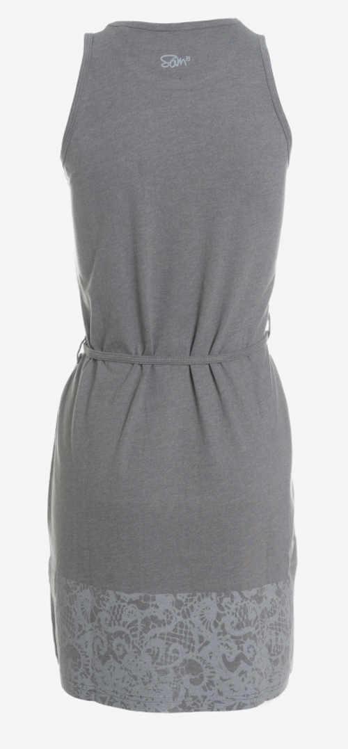 Šedé letní šaty s potiskem krajky