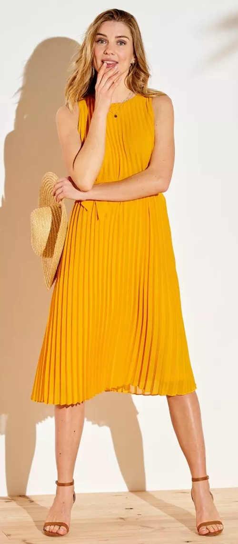 Dámské plisované šaty zářivě žluté barvy