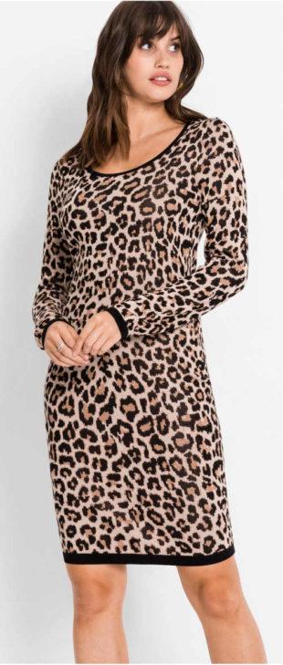 Pletené šaty s leopardím vzorem