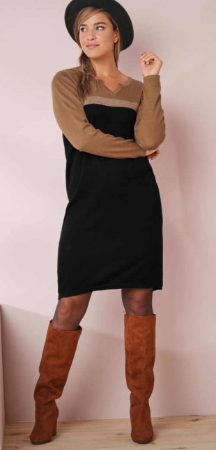 Podzimní úpletové šaty z hřejivého materiálu