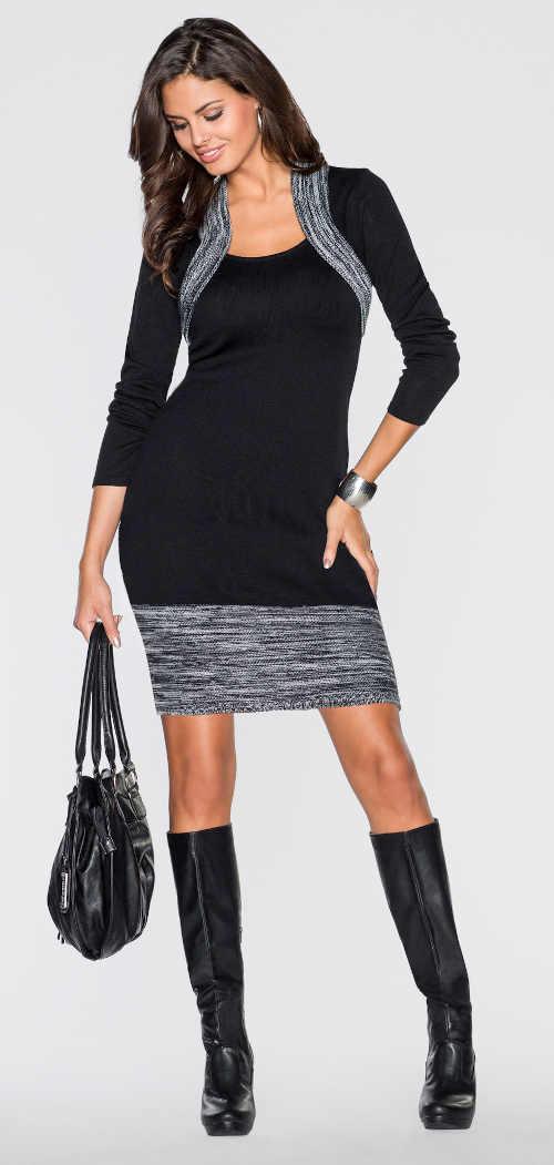 Pružné pleteninové šaty s bolérkem