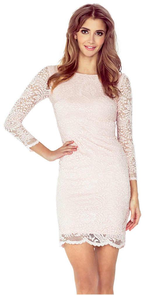 Světle růžové společenské šaty s dlouhými krajkovými rukávy