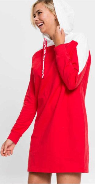 Úpletové mikinové šaty s kapucí