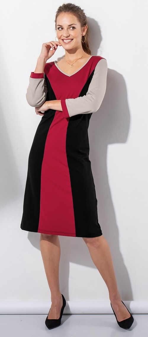 Žeštíhlující červeno-černé dámské šaty Blancheporte
