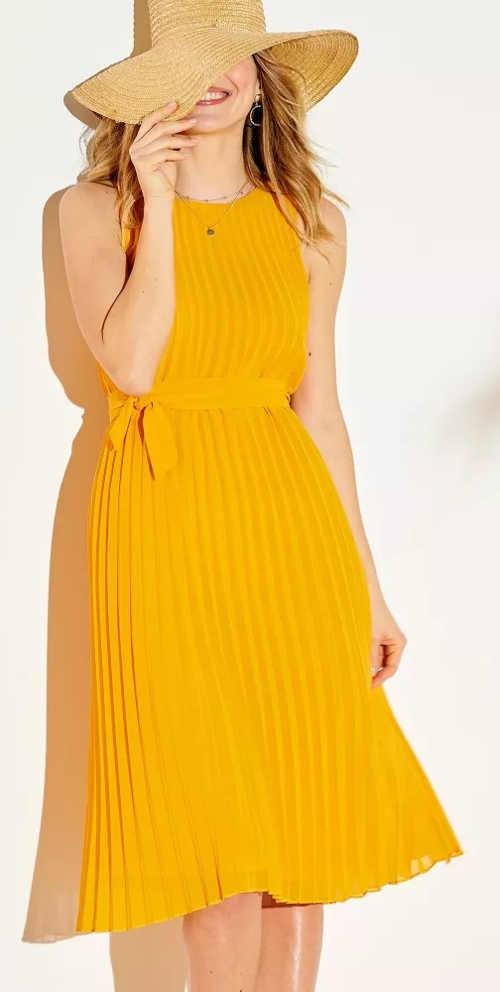 Žluté plisované letní šaty bez rukávů