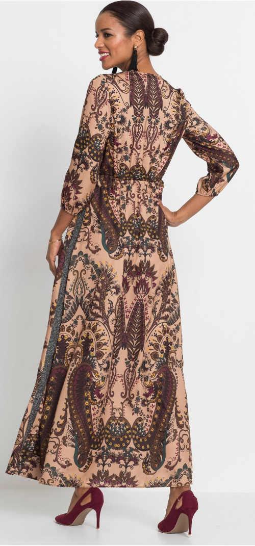 Dlouhé kašmírové dámské šaty s tříčtvrtečními rukávy
