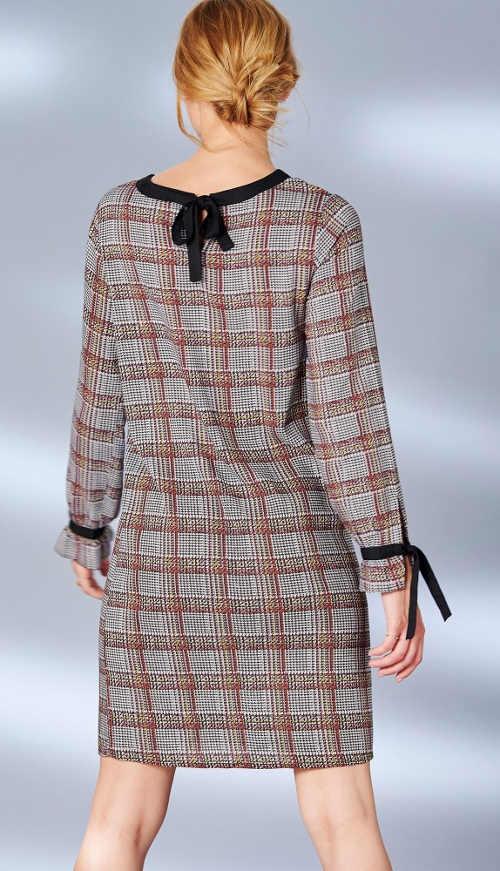 Kostkované dámské šaty se zavazováním za krkem a na rukávech