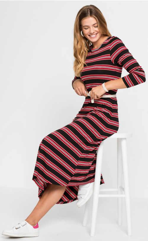 Podzimní asymetrické šaty s dlouhými rukávy