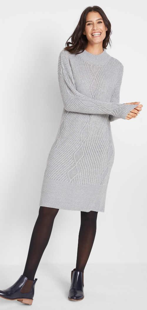 Šedé teplé pletené dámské šaty