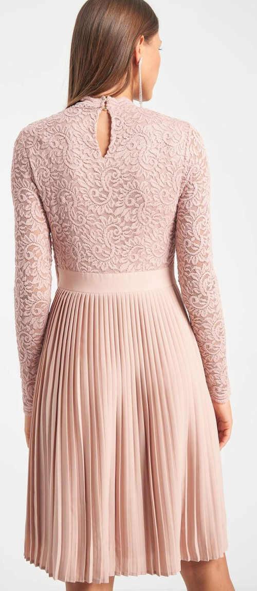 Společenské růžové šaty ke kolenům