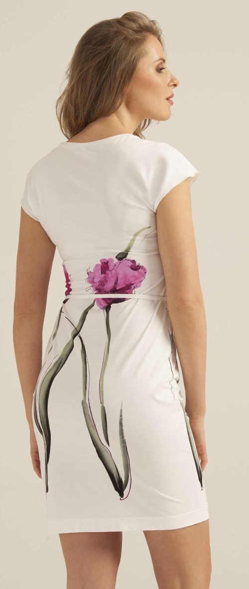 Bílé letní šaty s velkou květinou