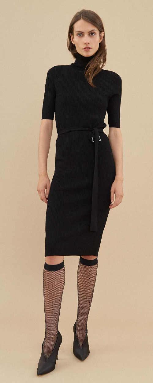 Černé úpletové šaty s rolákem Pietro FIlipi