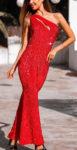 Červené dlouhé plesové šaty na jedno rameno