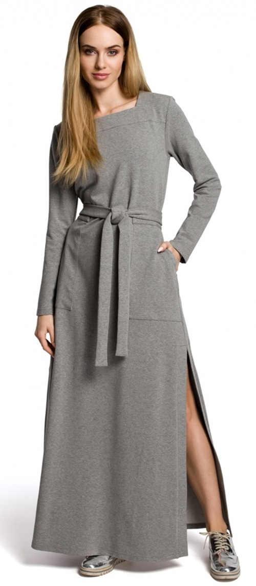 Dlouhé šedé denní šaty s páskem Moe