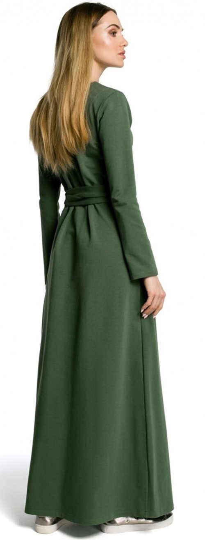 Dlouhé zimní šaty s páskem zelené barvy