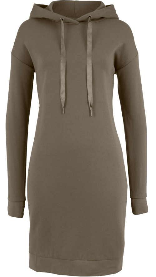 Hnědé dámské mikinové šaty s dlouhým rukávem