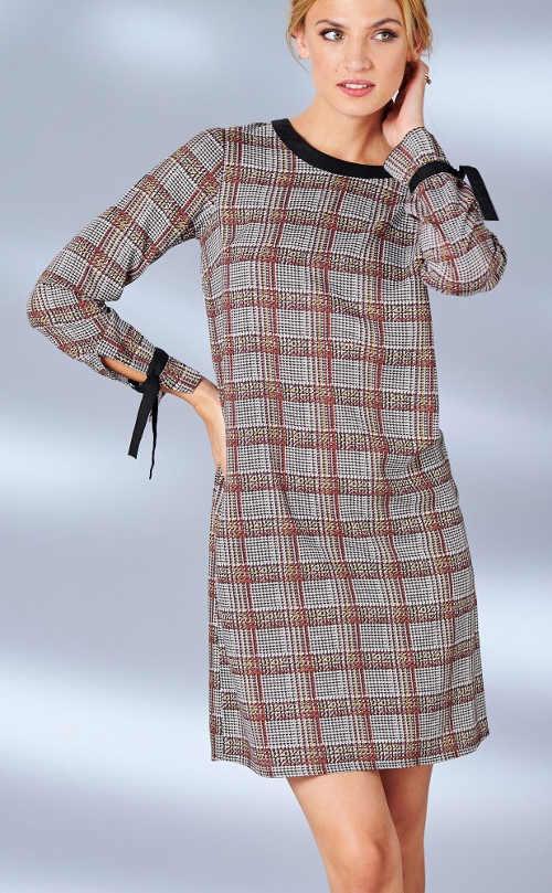 Kostkované dámské šaty s rukávy na zavazování