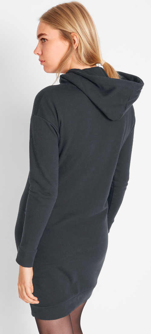 Kratší černé mikinové dámské šaty s velkou kapucí