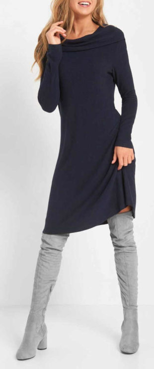 Moderní žerzejové šaty s dlouhým rukávem