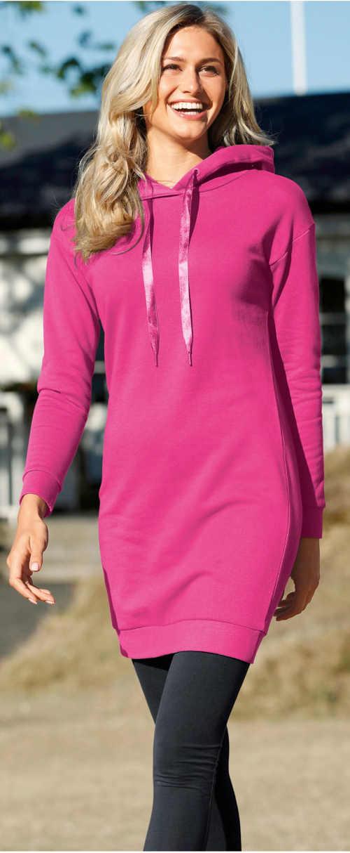 Růžové dámské podzimní šaty k legínám