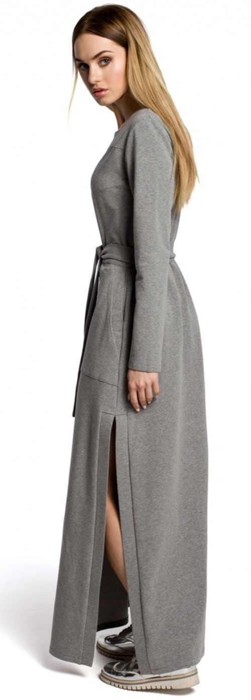 Šedé bavlněné maxi šaty s dlouhým rukávem