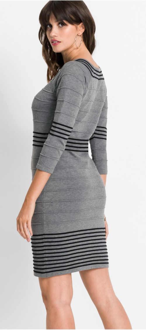 Šedé dámské pruhované pletené šaty s tříčtvrtečními rukávy