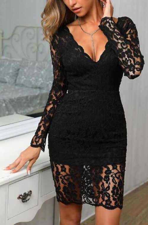 Společenské šaty z černé krajky