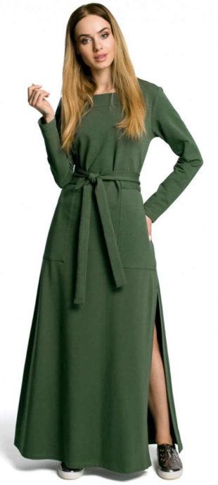 Zelené dlouhé denní šaty s páskem a kapsami