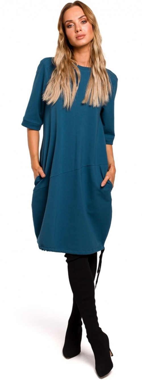 Zimní modré volné šaty balonového střihu s kapsami
