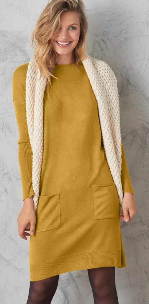 Žluté svetrové dámské šaty s dlouhými rukávy
