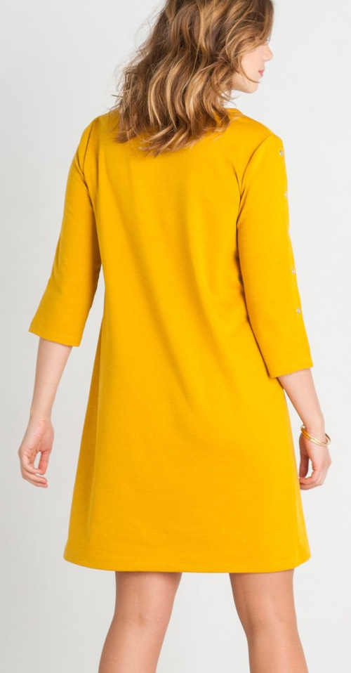 Žluté úpletové dámské šaty s tříčtvrtečním rukávem