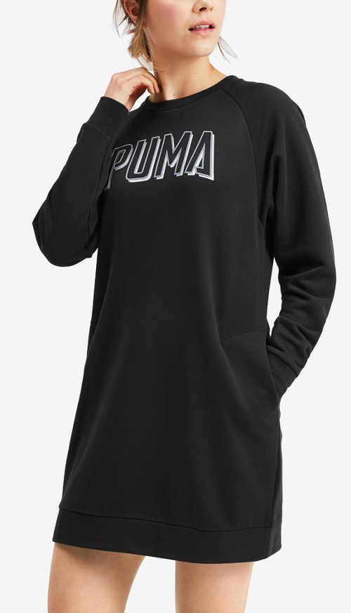 Černé sportovní teplákové dámské šaty Puma
