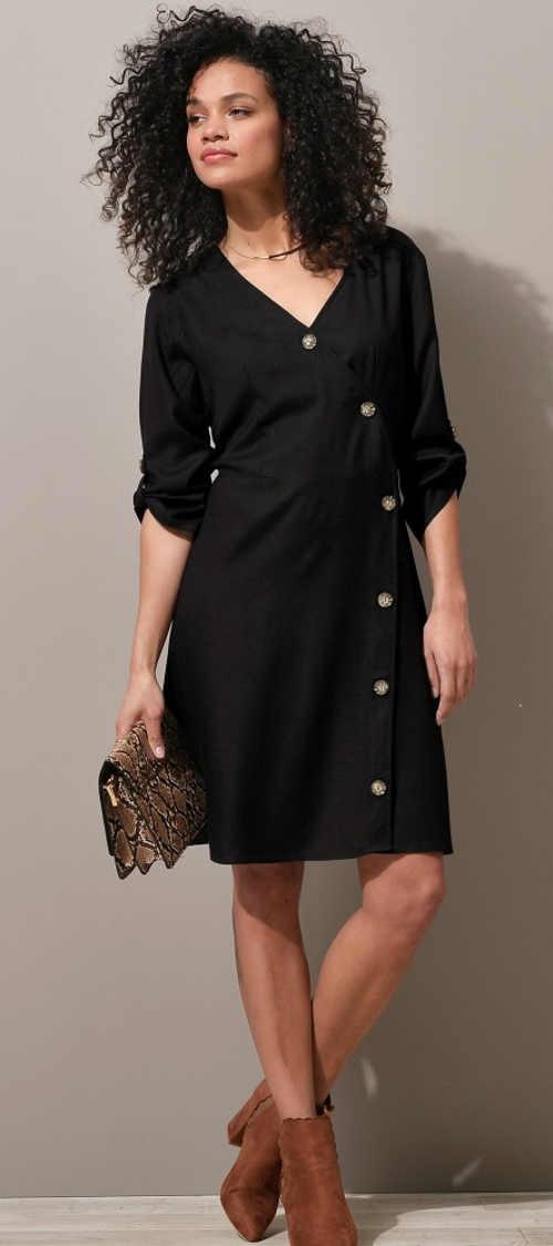Černé zavinovací společenské šaty s knoflíky