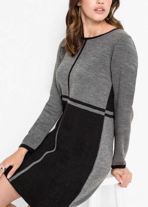 Černo-šedé úpletové zimní šaty